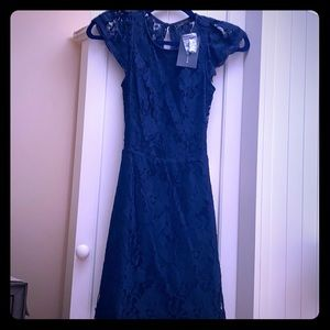 Pink lily navy blue lace dress